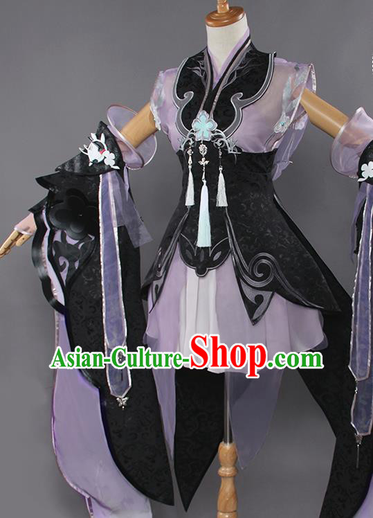 Chinese Traditional Cosplay Costumes Ancient Swordswoman Purple Dress for Women
