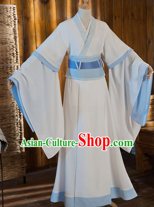 Chinese Traditional Cosplay Nobility Childe White Costumes Ancient Swordsman Clothing for Men