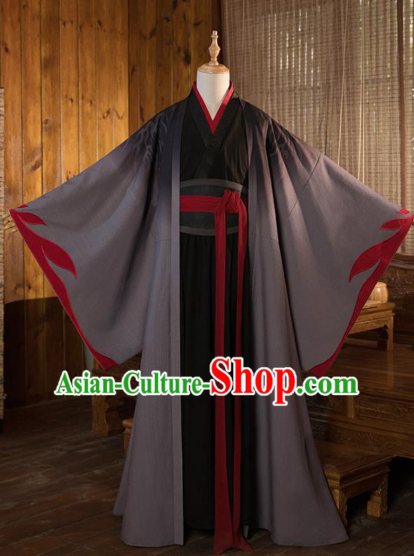 Chinese Traditional Cosplay Taoist Grey Costumes Ancient Nobility Childe Swordsman Clothing for Men