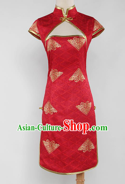 Chinese Traditional Cosplay Peri Costumes Ancient Swordswoman Red Cheongsam for Women