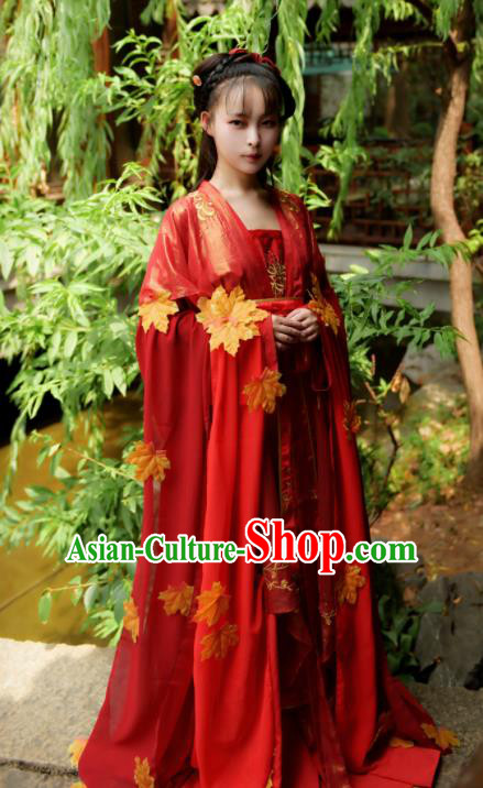 Asian Chinese Ancient Wedding Historical Costumes Tang Dynasty Princess Red Hanfu Dress for Women