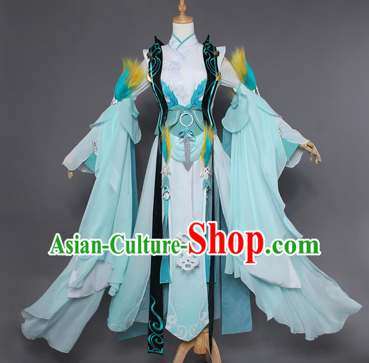 Chinese Traditional Cosplay Female Swordsman Costumes Ancient Knight Blue Dress for Women