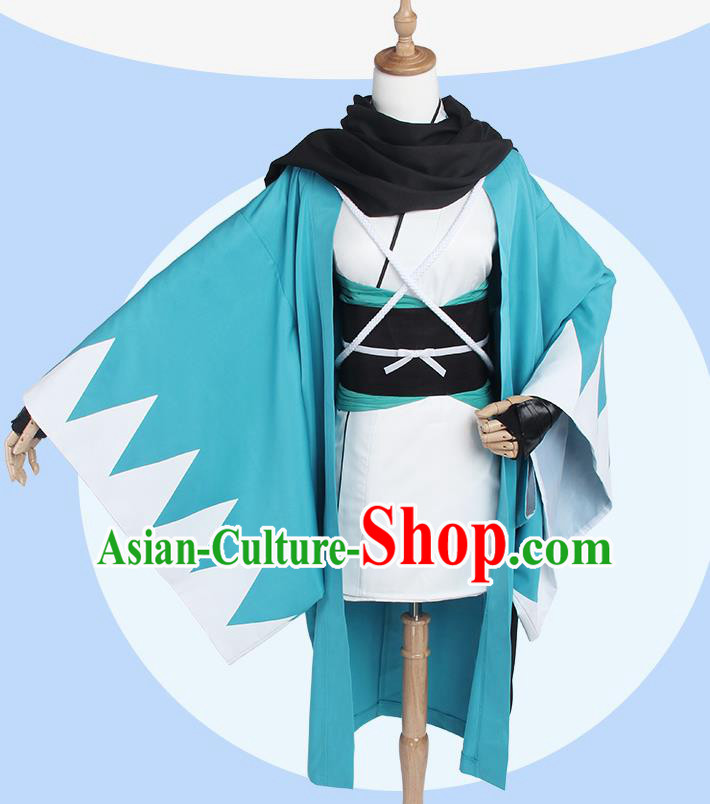 Chinese Traditional Cosplay Costumes Ancient Swordsman Blue Clothing for Men