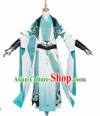 Chinese Traditional Cosplay Nobility Childe Costumes Ancient Swordsman Green Clothing for Men
