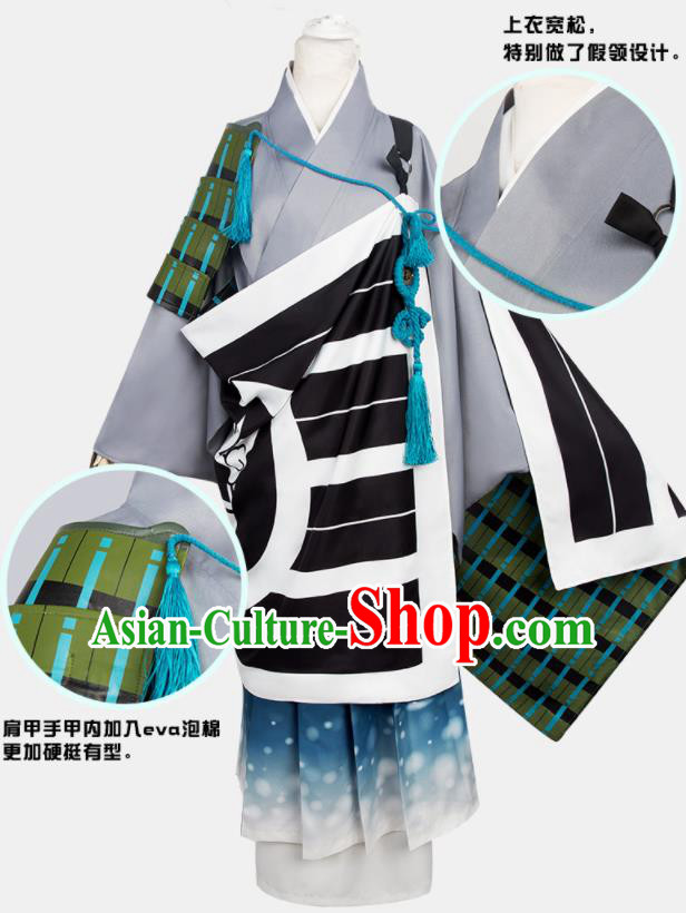 Chinese Traditional Cosplay Monks Grey Costumes Ancient Swordsman Clothing for Men