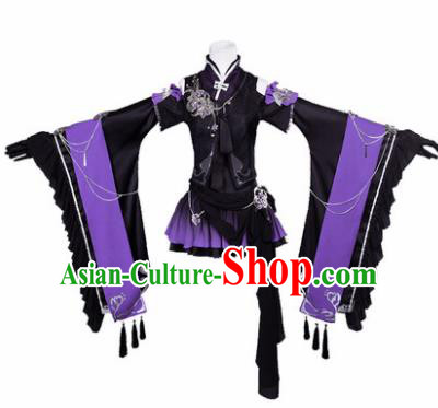 Top Grade Cosplay Female Warrior Costumes Chinese Ancient Swordsman Black Short Dress for Women