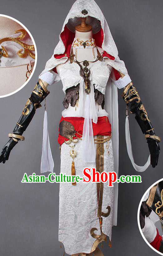 Top Grade Cosplay Warrior Costumes Chinese Ancient Female Swordsman White Dress for Women