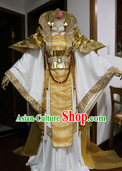 Top Grade Chinese Ancient Cosplay Royal Highness Swordsman Golden Costumes for Men
