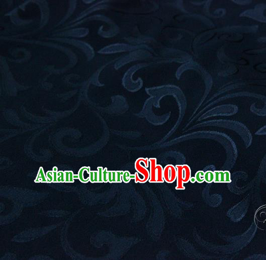 Asian Chinese Traditional Pattern Fabric Deep Blue Brocade Silk Fabric Drapery Material