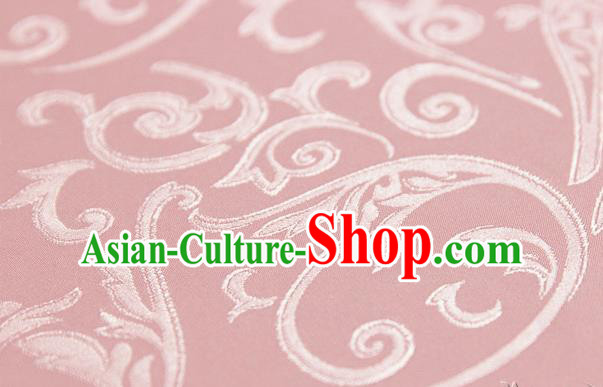 Asian Chinese Traditional Jacquard Silk Fabric Ancient Hanfu Pink Brocade Fabric Drapery Material