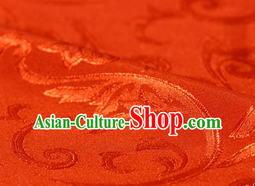 Asian Chinese Traditional Jacquard Silk Fabric Ancient Hanfu Red Brocade Fabric Drapery Material