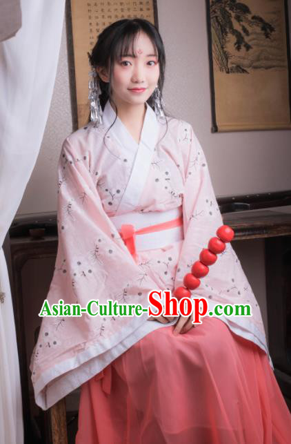 Chinese Ancient Peri Pink Hanfu Dress Han Dynasty Princess Costumes for Women