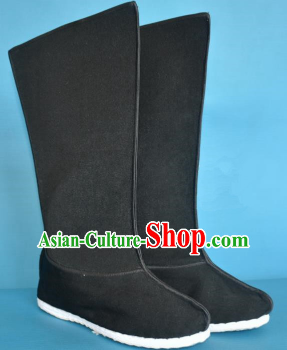 Chinese Traditional Beijing Opera Takefu Shoes Ancient Han Dynasty Warrior Black Boots for Men