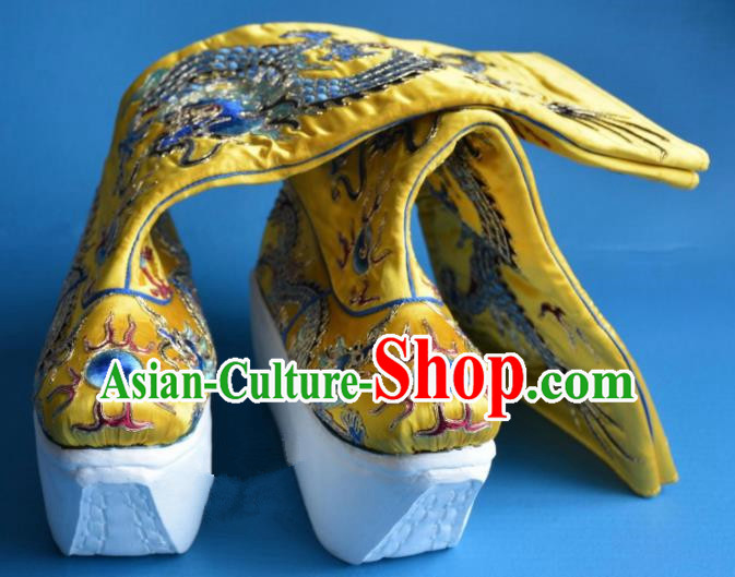 Chinese Traditional Beijing Opera Takefu Shoes Ancient Han Dynasty Emperor Embroidered Boots for Men