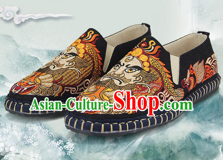 Chinese National Shoes Traditional Black Cloth Shoes Embroidery Facial Makeup Shoes for Men