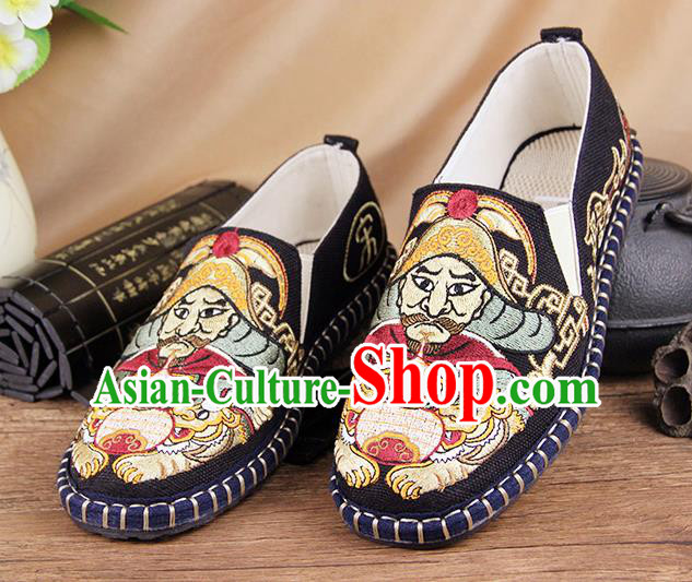 Chinese National Shoes Traditional Cloth Shoes Embroidery Black Shoes for Men