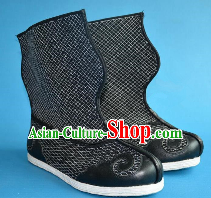 Chinese Traditional Beijing Opera Takefu Cloth Shoes Ancient Qing Dynasty Warrior Boots for Men
