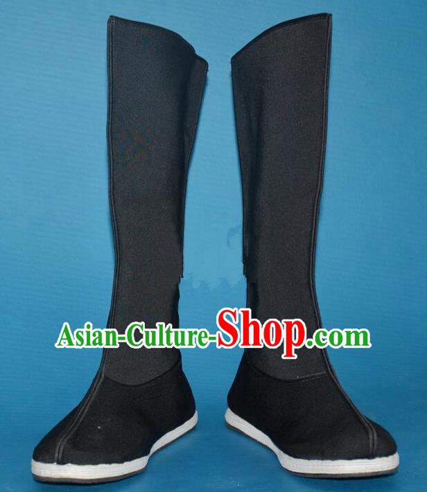 Chinese Traditional Beijing Opera Shoes Ancient Song Dynasty Swordsman Black Boots for Men