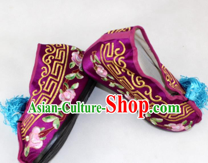 Chinese Traditional Beijing Opera Purple Blood Stained Shoes Ancient Handmade Princess Embroidered Shoes for Women