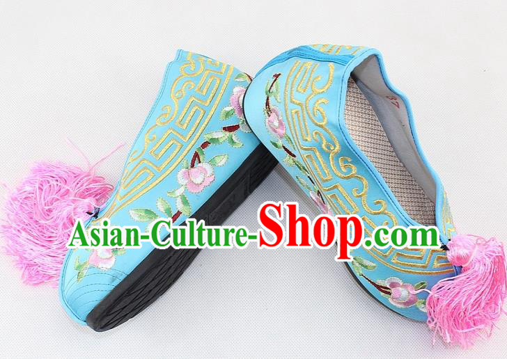 Chinese Traditional Beijing Opera Light Blue Blood Stained Shoes Ancient Handmade Princess Embroidered Shoes for Women