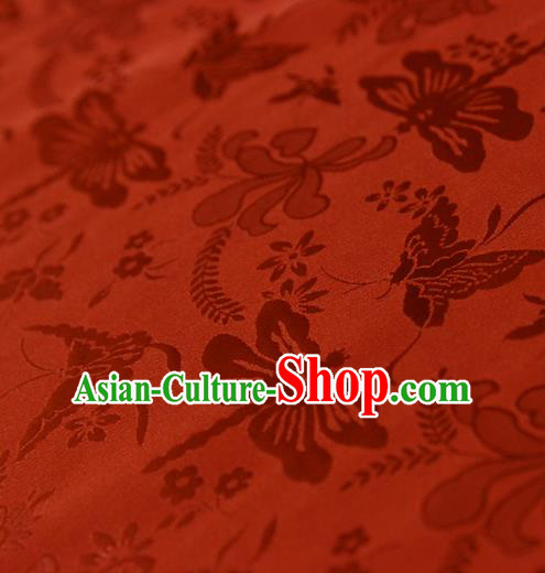 Asian Chinese Traditional Red Jacquard Silk Fabric Ancient Hanfu Brocade Fabric Drapery Material
