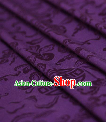 Asian Chinese Traditional Purple Silk Fabric Ancient Hanfu Jacquard Brocade Fabric Drapery Material