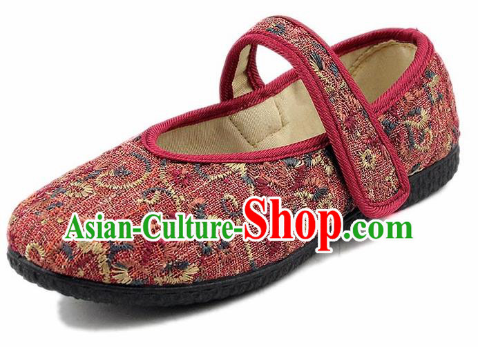 Chinese National Handmade Shoes Traditional Cloth Shoes Red Shoes for Women