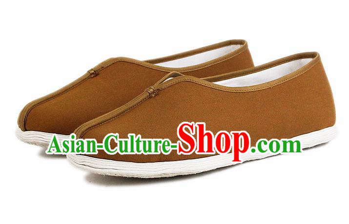Chinese National Khaki Cloth Shoes Traditional Martial Arts Shoes Monk Shoes for Men