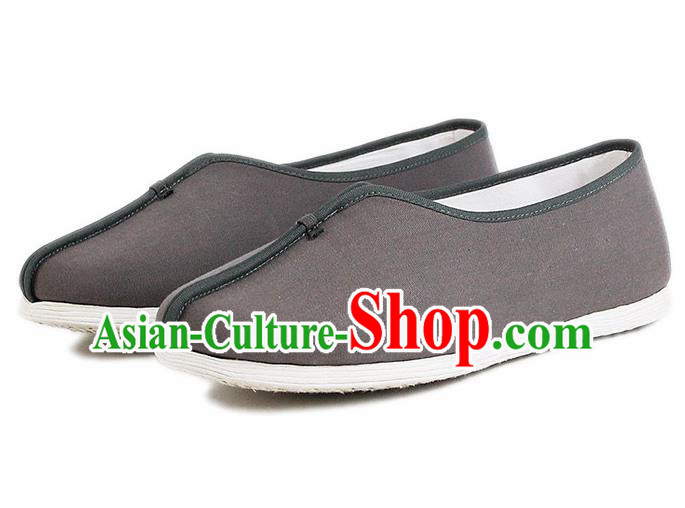 Chinese National Grey Cloth Shoes Traditional Martial Arts Shoes Monk Shoes for Men