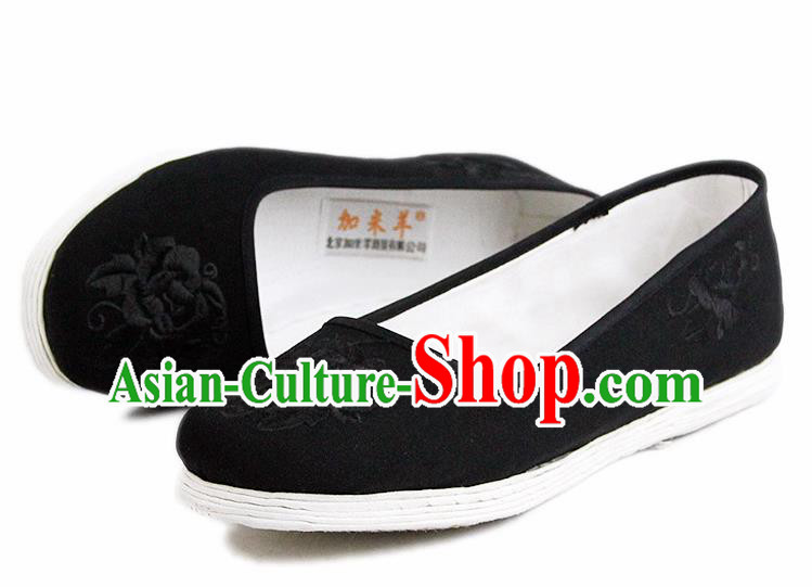 Chinese National Handmade Cloth Shoes Traditional Shoes Embroidered Peony Shoes for Women