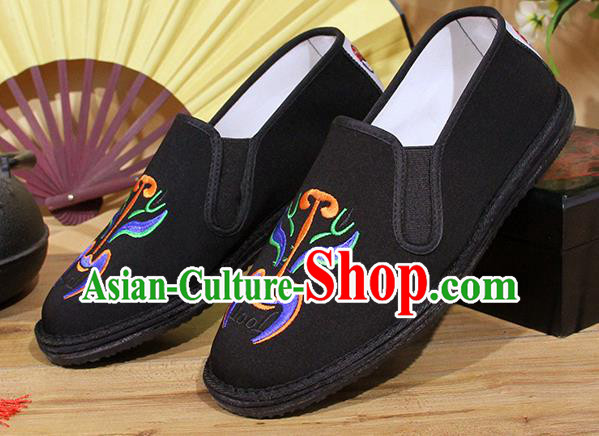 Chinese National Shoes Traditional Embroidery Martial Arts Cloth Shoes Black Shoes for Men
