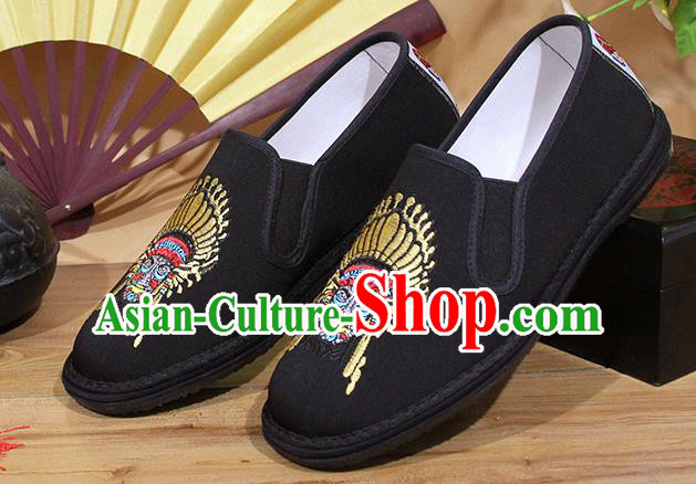 Chinese National Shoes Traditional Embroidery Exorcise Mask Cloth Shoes Black Shoes for Men