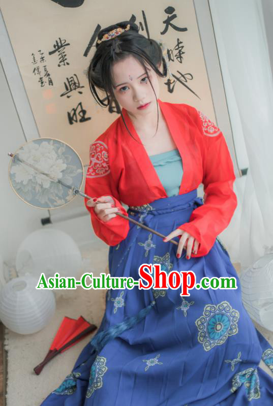 Chinese Ancient Hanfu Dress Tang Dynasty Court Maid Embroidered Costumes for Women