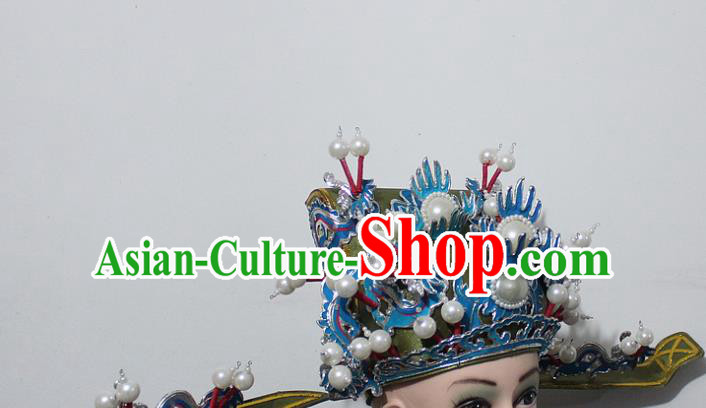 Chinese Traditional Peking Opera Prime Minister Green Hat Ancient Chancellor Headwear for Men