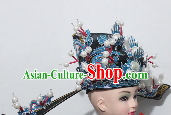 Chinese Traditional Peking Opera Prime Minister Black Hat Ancient Chancellor Headwear for Men