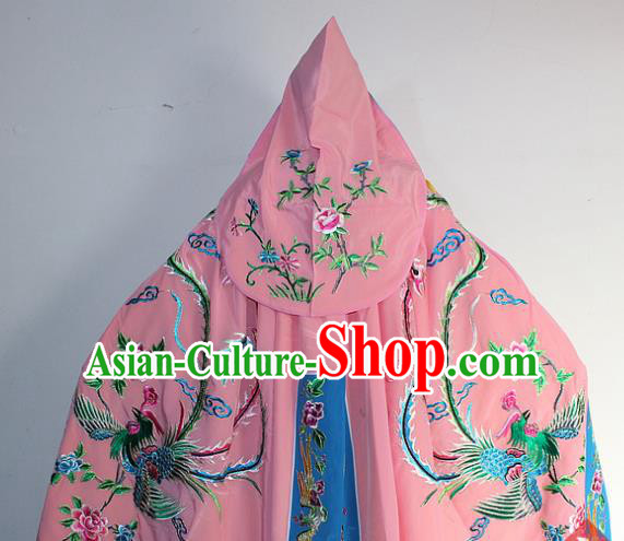 Chinese Traditional Peking Opera Diva Costumes Ancient Princess Embroidered Pink Cloak for Women