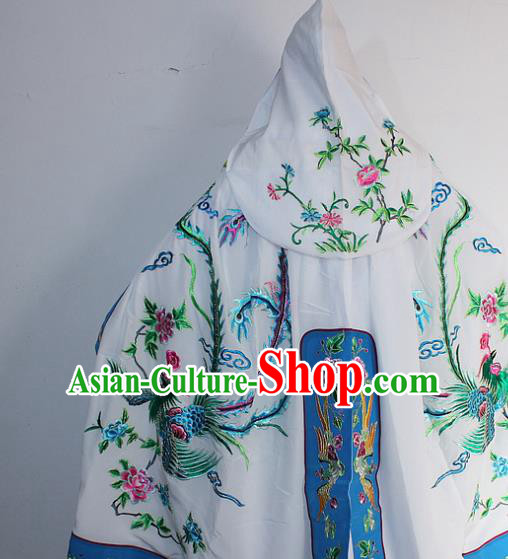 Chinese Traditional Peking Opera Diva Costumes Ancient Princess Embroidered White Cloak for Women