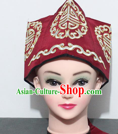 Chinese Traditional Peking Opera Old Gentleman Hat Ancient Ministry Councillor Red Hat for Men