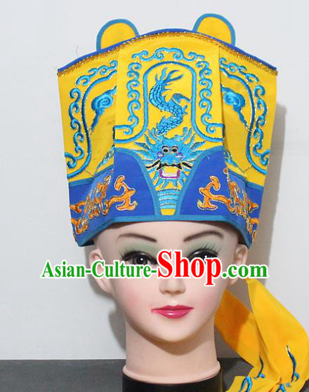 Chinese Traditional Peking Opera Old Gentleman Hat Ancient Emperor Yellow Hat for Men