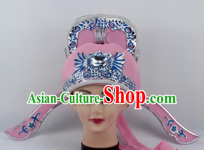 Chinese Traditional Peking Opera Niche Hats Ancient Scholar Pink Hat for Men