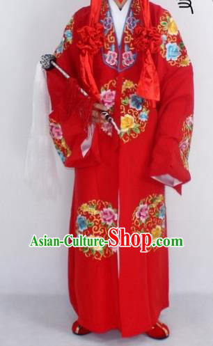 Chinese Traditional Peking Opera Niche Embroidered Robe Ancient Prince Red Costumes for Men