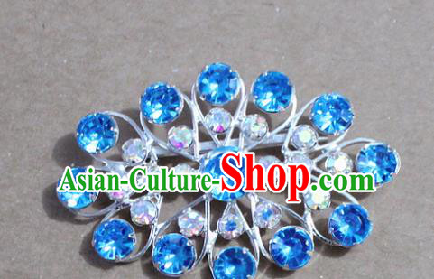 Chinese Traditional Peking Opera Diva Accessories Ancient Princess Blue Crystal Brooch for Women