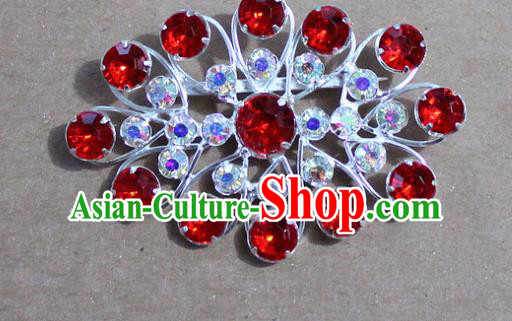 Chinese Traditional Peking Opera Diva Accessories Ancient Princess Red Crystal Brooch for Women