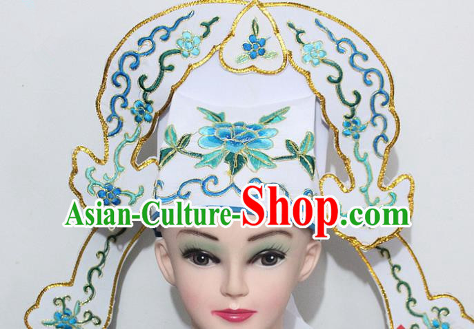 Chinese Traditional Peking Opera Niche Hats Ancient Nobility Childe White Hat for Men