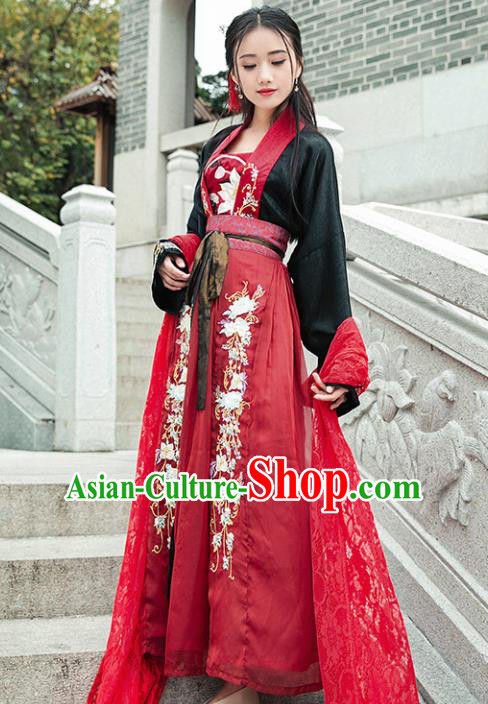 Chinese Ancient Tang Dynasty Nobility Lady Hanfu Dress Traditional Embroidered Costumes for Women