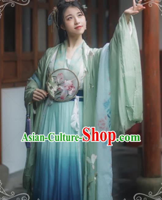 Chinese Ancient Song Dynasty Imperial Consort Hanfu Dress Traditional Embroidered Costumes for Women