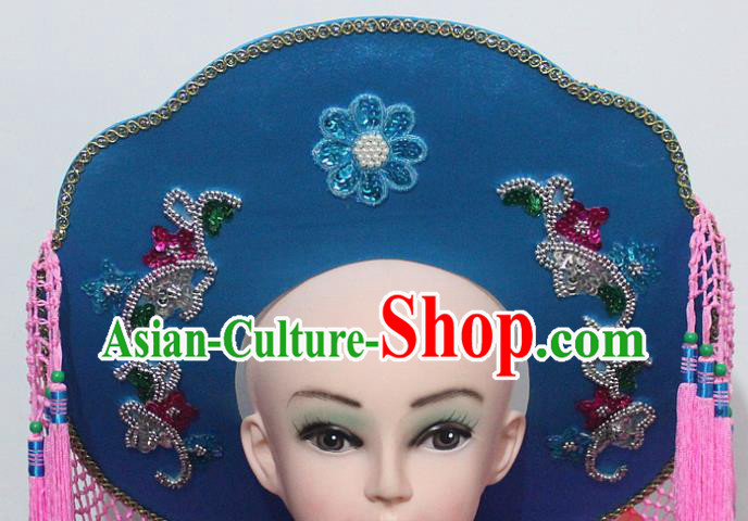Chinese Traditional Peking Opera Fishing Female Hat Ancient Swordswoman Blue Hat for Women