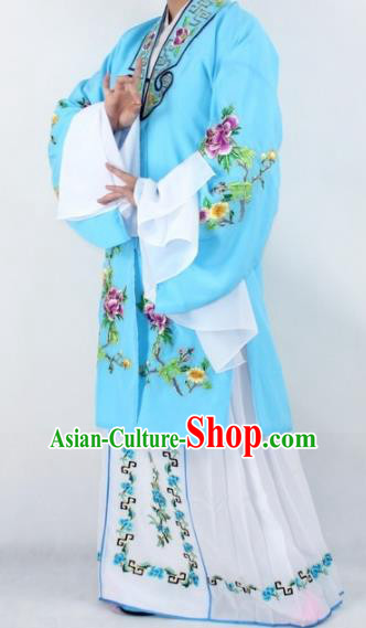 Chinese Traditional Peking Opera Actress Costumes Ancient Nobility Lady Light Blue Cloak for Women