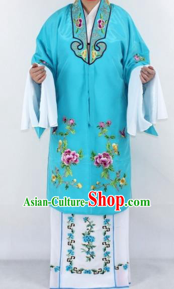 Chinese Traditional Peking Opera Actress Costumes Ancient Nobility Lady Sky Blue Cloak for Women