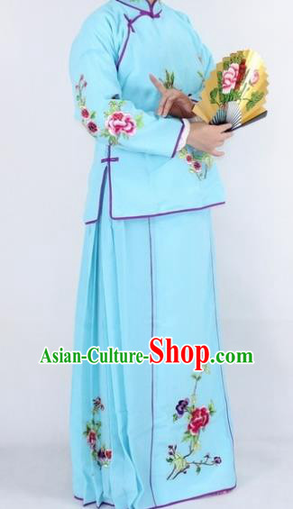 Chinese Traditional Peking Opera Young Lady Costumes Ancient Maidservants Blue Dress for Women